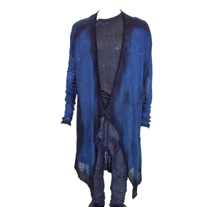 Black & Blue Discharged Linen Cardigan