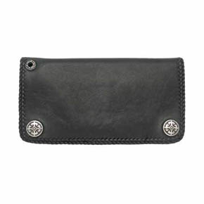 Black Lamb's Leather Fleur-De-Lis Men's Wallet