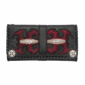 Black Leather and Red Sting Ray Men's Wallet