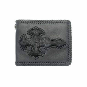 Black Leather and Sting Ray Florentine Cross Men's Wallet