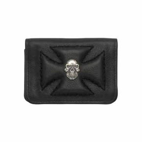 Black Leather Maltese Cross and Silver Skull Credit Card Holder