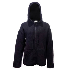 Black Merino Wool Zip-up Hoodie