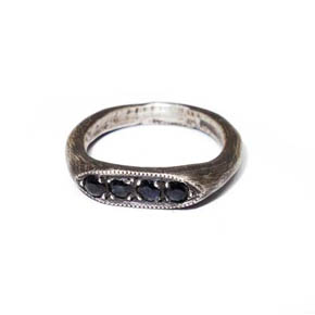 Black Sapphire & Sterling Silver Ring