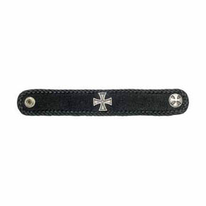 Black Stingray Leather and Maltese Cross Men's Bracelet