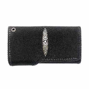 Black Sting Ray Leather Trifold Men's Wallet