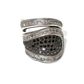 Black & White Diamond Silver Spoon Ring
