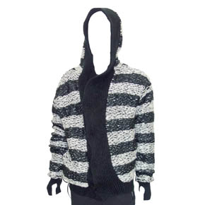 Black & White Stripe Mohair Border Hooded Jacket