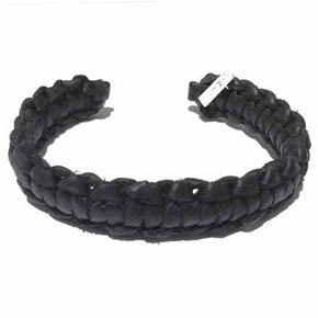 Black Woven Leather Men's Cuff Bracelet
