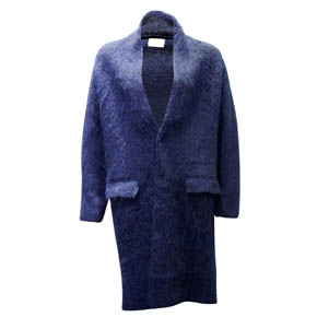 Blue Alpaca Wool Long Coat