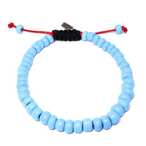 Blue Ceramic & Red Leather Bracelet