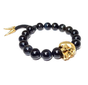 Blue Tiger's Eye & Brass Skull Bracelet