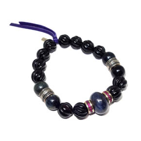Blue Tiger's Eye, Onyx, & Ruby Bracelet