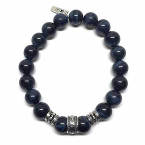 Blue Tiger's Eye & Silver Beaded Bracelet