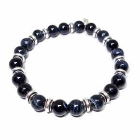 Blue Tiger's Eye & Silver Roundel Beaded Bracelet
