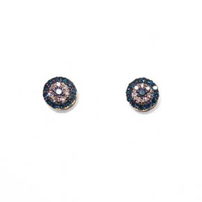 Blue & White Diamond Evil Eye Stud Earrings