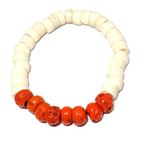 Bone & Orange Ceramic Bracelet