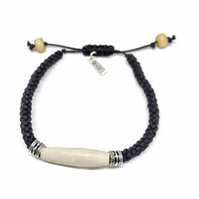 Bone & Silver Hemp Men's Bracelet