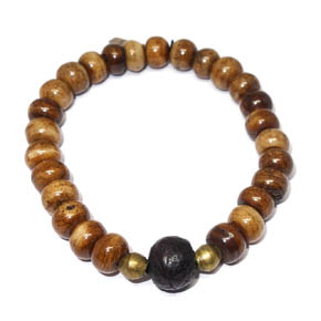 Bone, Tibetan Wood, & Bronze Bracelet
