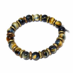Brass & Gold Tigers Eye Men's Beaded Bracelet
