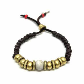 Brass & Leather Men's Beaded Bracelet