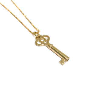 Brass Skeleton Key Necklace Pendant