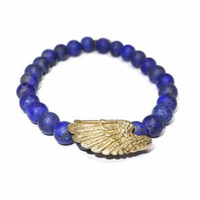 Limited Edition Brass Winged & Matte Lapis Beaded Bracelet