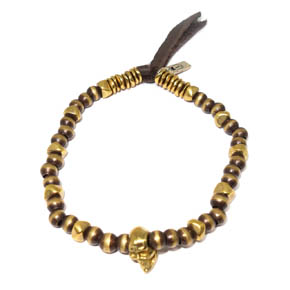 Bronze Bead & Skull Leather Bracelet