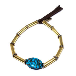 Brass Tube, Silver, & Turquoise Beaded Bracelet