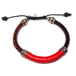 Brown & Red Woven Leather & Silver Bracelet