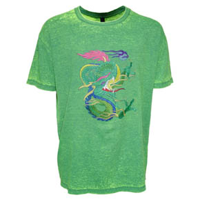 Green Burn Out Dragon Embroidered T-shirt