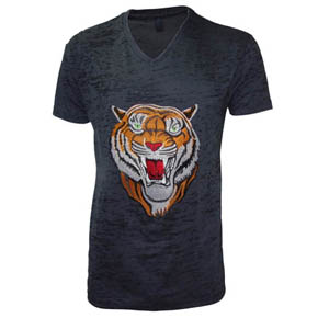Embroidered Tiger Dark Gray T-Shirt