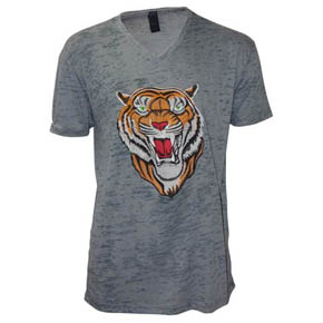 Embroidered Tiger Light Gray T-Shirt