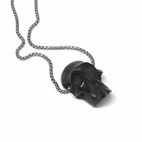 Carved Jet Skull on Classic Silver Box Chain