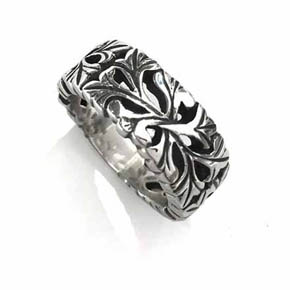 Silver Leaf Motif Men's Band