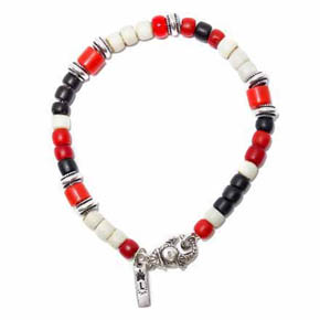 Ceramic & Silver Beaded Men's Bracelet