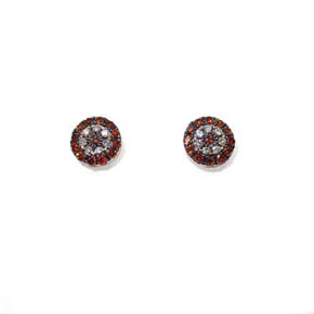 Champagne & White Diamond Evil Eye Stud Earrings