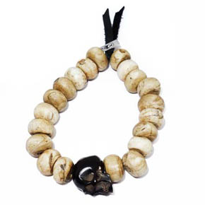 Conch Shell and Jet Skull Bracelet