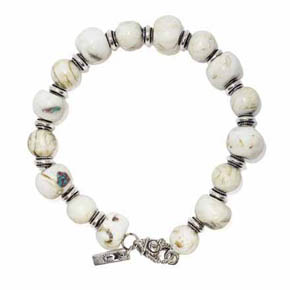 Conch Shell & Silver Men's Beaded Bracelet
