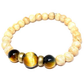 Conch, Tiger's Eye, & Brass Bracelet