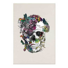 D.L. & Co. Blooming Skull w.Glitter Greeting Card