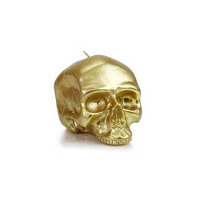 D.L. & Co. Medium Metallic Gold Skull Candle