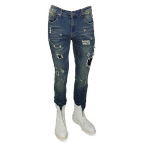 Destroyed Distressed Dark Wash Men's Jeans