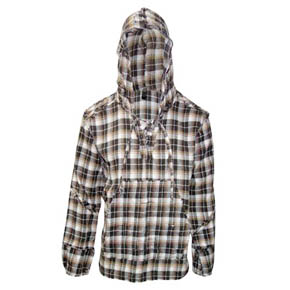 Destroyed Prewashed Brown & Cream Flannel Hoodie