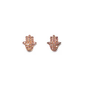 Diamond & Rose Gold Hamsa Hand Stud Earrings