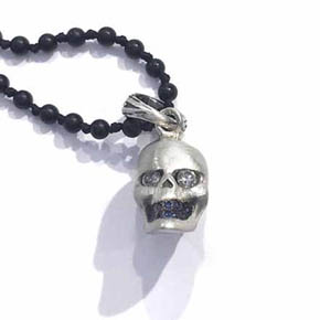 Diamond & Sapphire Silver Skull Men's Pendent Necklace