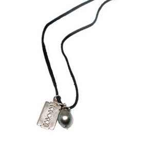 Diamond South Sea Pearl & Silver Razorblade Pendants on Leather Necklace