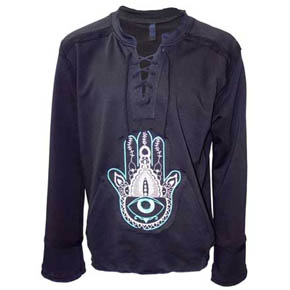 Embroidered Hamsa Hand Lace Up Shirt