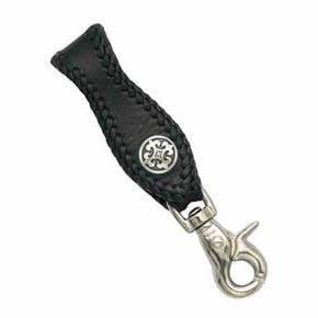 Fleur-De-Lis and Black Leather Men's Key Fob