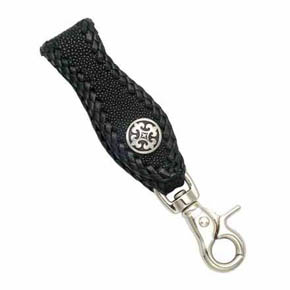 Fleur-De-Lis and Black Sting Ray Leather Men's Key Fob