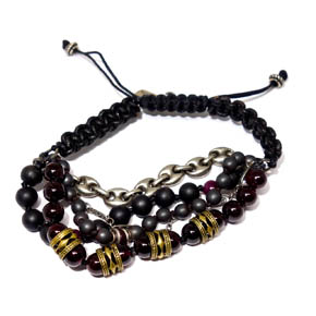 Garnet, Hematite, Ruby, Onyx, Bronze, Leather & Silver Bracelet